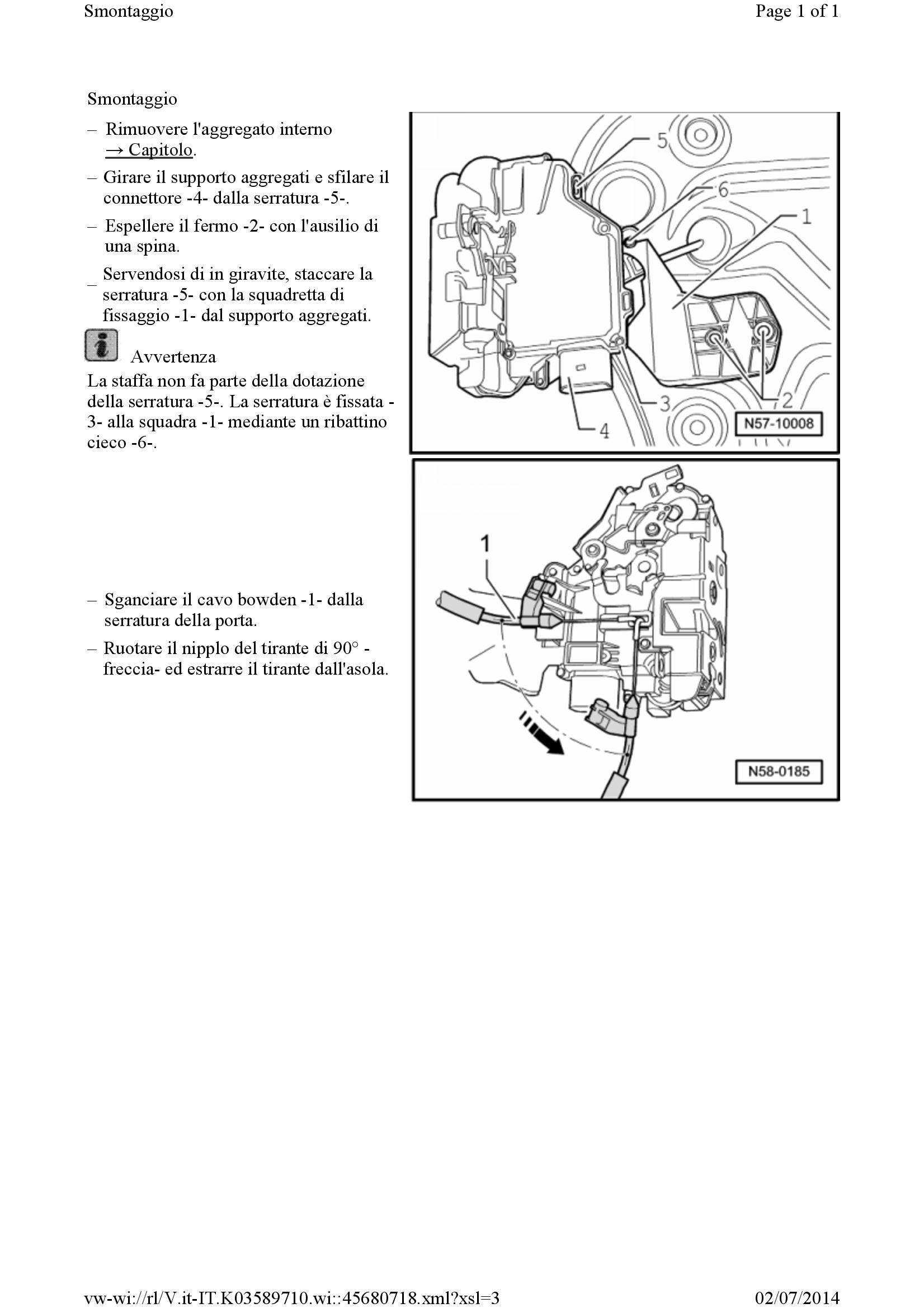 VW Touran Cavo Bowden maniglia porta freccia porta